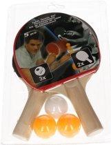 Tafeltennis set -  2 batjes en 3 tafeltennisballetjes
