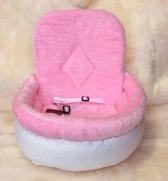 Autostoel voor honden Cosy car comfort Angel & Gladys Wit- Roze 55x45x25/50cm