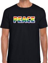 Peace gaypride t-shirt -  regenboog t-shirt zwart voor heren - Gay pride L