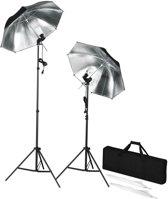 vidaXL - Draagbare studioflitserset met statieven en paraplu's