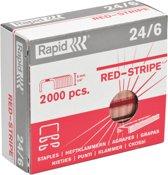 Rapid Nietjes 24/6 Red Stripe verkoperd doos van 2000 nietjes