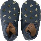 Bobux babyslofjes navy gold fleur de lis gold trims loafer