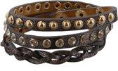 Wikkelarmband met Studs - Lengte 60 cm - Grijs en Goudkleurig - Musthaves