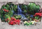 Fotobehang Waterfall Forest Flowers   L - 152.5cm x 104cm   130g/m2 Vlies