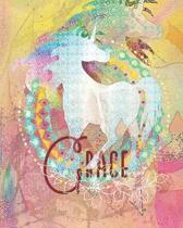 Grace: Colorful Rainbow Unicorn - 100 Pages 8''X10'' Girl's Composition Wide Ruled Notebook