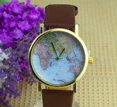 Leuk bruin  - Horloge met wereldkaart