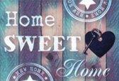 SEOS Shop ® Diamond Painting Pakket Home Sweet Home blauw paars - Volwassenen - 30x20 cm