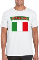 Italie t-shirt met Italiaanse vlag wit heren 2XL