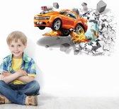 Muursticker auto | Auto door muur (3D-effect) | Raamsticker | Deursticker | Kinderkamer | Jongenskamer | 70 x 50 cm | Incl. plakinstructie