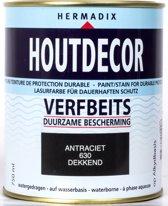 Hermadix Houtdecor Verfbeits dekkend - 0,75 liter - 630 Antraciet