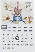 Eeuwigdurende kalender met vogels - Metaal - 24 x 36 cm
