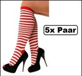 5x Paar Doruskousen rood/wit one size