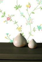 Dutch Wallcoverings Vlakvinylbehang bloemetjes - beige/groen/rood/blauw