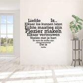 Muursticker Liefde Is.. In Hart Vorm -  Donkerblauw -  60 x 47 cm  - Muursticker4Sale