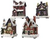 Kerstdorpen bouwen kersthuisjes bakkerij 12 cm - Met verlichting - Kerstversieringen/kerstdecoraties