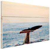 Walvisstaart uit het water Hout 30x20 cm - klein - Foto print op Hout (Wanddecoratie)