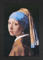 Meisje van Johannes Vermeer-Poster-kunst-inclusief houten fotolijst met artprint-poster Meisje van Vermeer-Meisje met de Parel-(34x46cm)-aanbieding