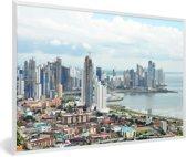 Foto in lijst - Uitzicht over Panama Stad fotolijst wit 60x40 cm - Poster in lijst (Wanddecoratie woonkamer / slaapkamer)
