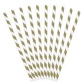 Rietjes Stripes Wit/Goud (10 stuks)