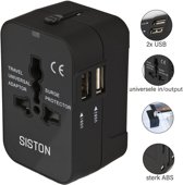 Siston Universele Wereldstekker met 2 USB Poorten – Zwart - Internationale Reisadapter Voor meer dan 150 landen - Engeland (UK) - Amerika (USA) - Australië - Azië - Zuid Amerika - Reisstekker – Reisstekker Reis Adapter