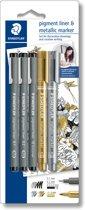 STAEDTLER  tekenset - pigment liner fineliner - set 3 st + 2 metallic marker