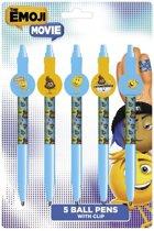 Emoji Balpennen Met Clip 14 Cm Blauw/geel 5 Stuks