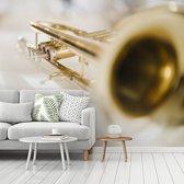 Fotobehang vinyl - Speciale afbeelding van een goudkleurige trompet breedte 275 cm x hoogte 220 cm - Foto print op behang (in 7 formaten beschikbaar)