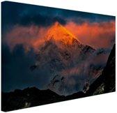 Zonsondergang Himalaya Canvas 180x120 cm - Foto print op Canvas schilderij (Wanddecoratie)