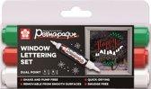Sakura Permapaque window markers - Raamstiften - Lettering set - Dubbelpunt - 3 kleuren/stuks