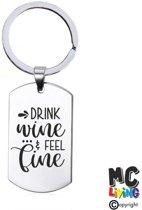 Sleutelhanger RVS - Drink Wine