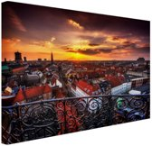 Kopenhagen bij nacht Canvas 80x60 cm - Foto print op Canvas schilderij (Wanddecoratie woonkamer / slaapkamer) / Steden Canvas Schilderijen