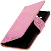 BestCases.nl Roze Lace booktype wallet cover hoesje voor Samsung Galaxy A3 2017 A320F
