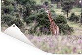 Bloemenveld bij het Masai Mara National Park in Kenia Tuinposter 60x40 cm - klein - Tuindoek / Buitencanvas / Schilderijen voor buiten (tuin decoratie)