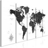 Schilderij - Wereldkaart in zwart/wit, 5 luik