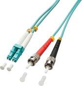 Lindy 20m OM3 LC - ST Duplex Glasvezel kabel Turkoois