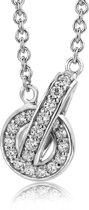 Majestine ketting - 925 Zilveren Rhodium Collier met Zirkonia - Ketting 45 cm