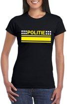 Politie logo t-shirt zwart voor dames XS