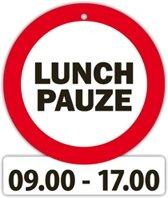 verkeersbord - Lunchpauze 09.00-17.00