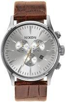 Nixon A4051888 Sentry Chrono Leather saddle gator - Horloge - 42mm - Bruin