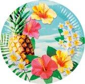 6 kartonnen bordjes Hawaii party - Feestdecoratievoorwerp