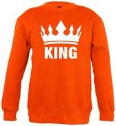 Oranje Koningsdag King sweater kinderen - Oranje Koningsdag kleding 7-8 jaar (122/128)