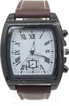 Horloge met Datum - Band Imitatieleer - Kast 40x45 mm - Quartz - Bruin - Dielay