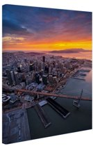 Uitzicht over San Francisco Canvas 20x30 cm - klein - Foto print op Canvas schilderij (Wanddecoratie woonkamer / slaapkamer) / Steden Canvas Schilderijen