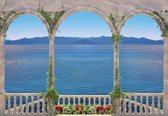 Fotobehang  Tropical View Through Arches | XXXL - 416cm x 254cm | 130g/m2 Vlies
