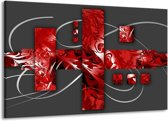 Canvas schilderij Art | Rood, Grijs | 140x90cm 1Luik
