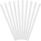 Partydeco Papieren rietjes streep zilver - 10 stuks