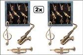 2x Broche box Muziekinstrumenten assortie