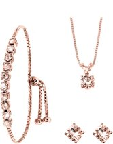 Lucardi - Zilveren set rose Swarovski Crystal light peach - maat 42