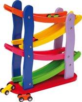Houten knikkerbaan met auto's - Multi kleuren - 4 auto's inbegrepen - Kinderpuzzel 18 maanden