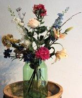 Zijden Boeket - Bont - 70 cm hoog - 12 stelen - Kunstbloemen